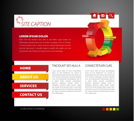 web template: Modern web page template - with 3d navigation items