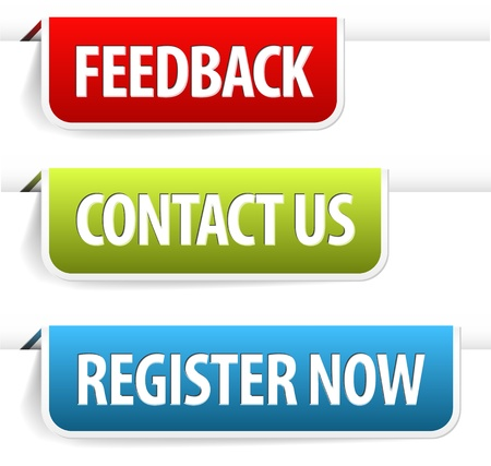 Kleurrijke papieren web-tags / bladwijzers voor feedback, contact, registreren Vector Illustratie