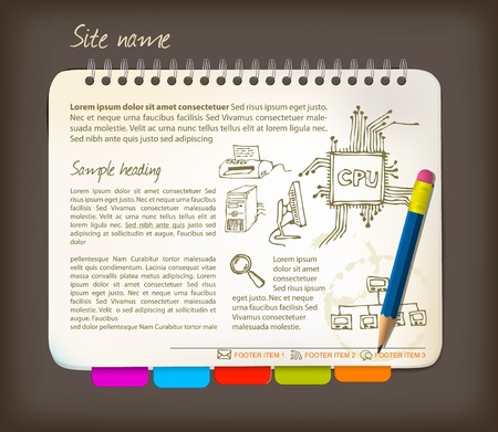 textbooks: Horizontal web site template - Open notepad with colorful bookmarks