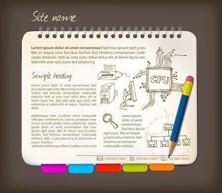 web side: Plantilla de p�gina horizontal - abrir Bloc de notas con marcadores colores Vectores
