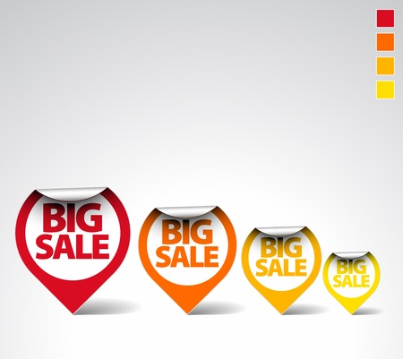 Colorful Round Labels / stickers for big sale Stock Vector - 9058116
