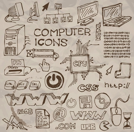 printer drawing: Set of hand-drawn computer icons on crumpled paper