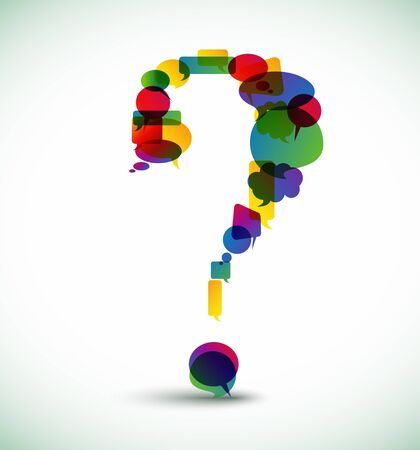 idea bubble: Question mark made from colorful speech bubbles