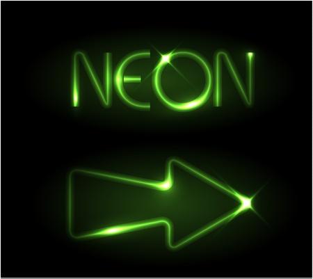 iluminados: Flecha verde neón sobre un fondo negro Vectores