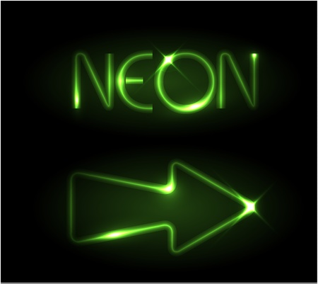 the left: Green neon arrow on a black background Illustration
