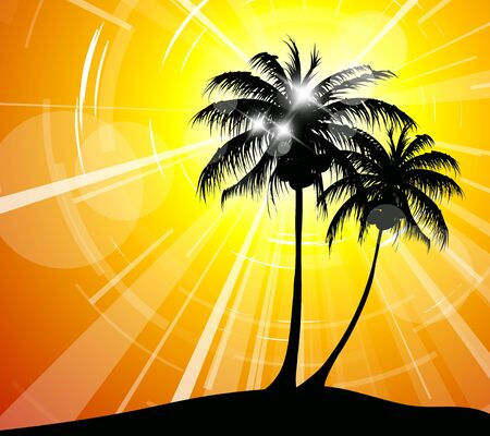Sunset on the beach - holiday image for a travel agency Stock Vector - 9058128