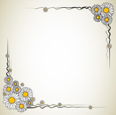 margriet: Vector bloem frame (daisy op een lichte achtergrond) Stock Illustratie