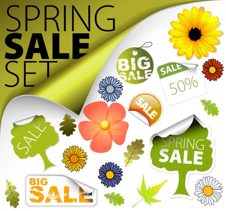 spring message: Set of fresh spring discount tickets, labels, stamps, stickers, corners, tags