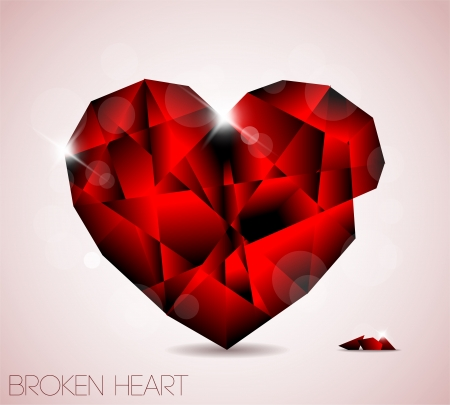 shattered glass: Broken red diamond jewel heart - Valentines element for a card