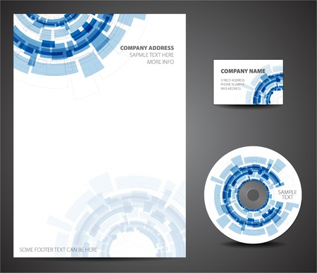 cd cover: Design template set - business card, cd, paper