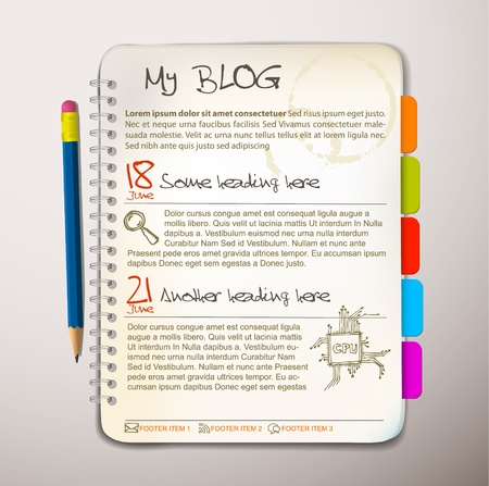 diary: Blog web site template - Open notepad with colorful bookmarks