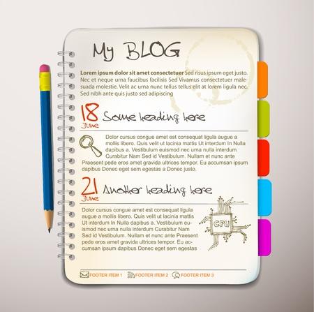 web side: Plantilla de sitio web blog - abrir Bloc de notas con marcadores colores
