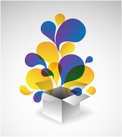 giveaway: Explosi�n de caja de Regalo - abstracto ilustraci�n lleno de colores