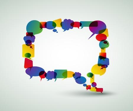 Gran bocadillo de colorido pequeñas burbujas