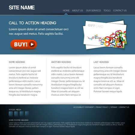 webdesign template: Modern website template with nice button