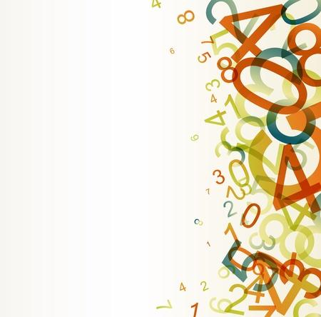 Fondo retro abstracto con números de colorido arco iris