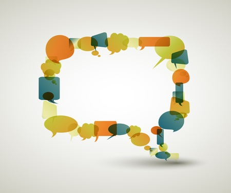bubble speech: Big empty speech bubble made from colorful small bubbles Illustration