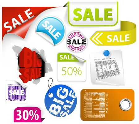 Set of colorful discount tickets, labels, stamps, stickers, corners, tags  Vector