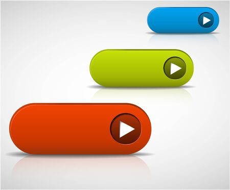set of empty buttons - red, green and blue Stock Vector - 9131328