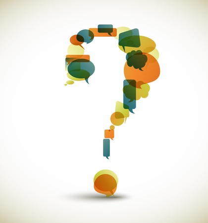 question icon: Question mark made from blue speech bubbles with retro colors