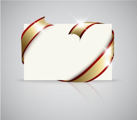envelope decoration: Tarjeta de boda - cinta dorada alrededor de papel blanco en blanco, donde debe escribir el texto