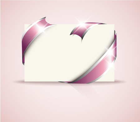 where: Wedding card - pink around blank white paper, where you should write your text