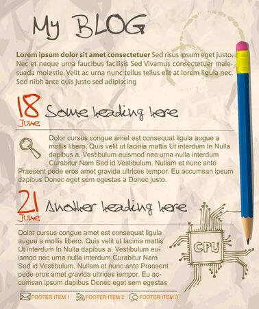 Blog web site template - with crumpled paper as a background Vector