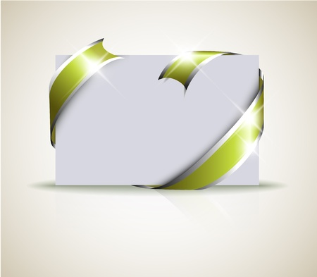 should: Wedding card - green ribbon around blank white paper, where you should write your text Illustration