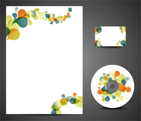 Retro design template set - business card, cd, paper