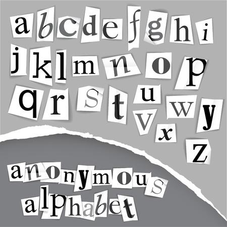 Anonimo alfabeto fatto dai giornali - bianco e nero dettagliate lettere