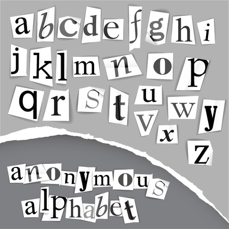 Anonymous alphabet made from newspapers - black and white detailed letters Ilustrace