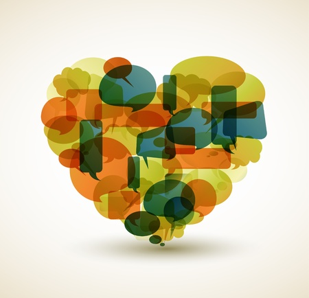 Heart made from cartoon bubbles Vector