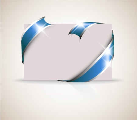 should: Wedding card - blue ribbon around blank white paper, where you should write your text Illustration