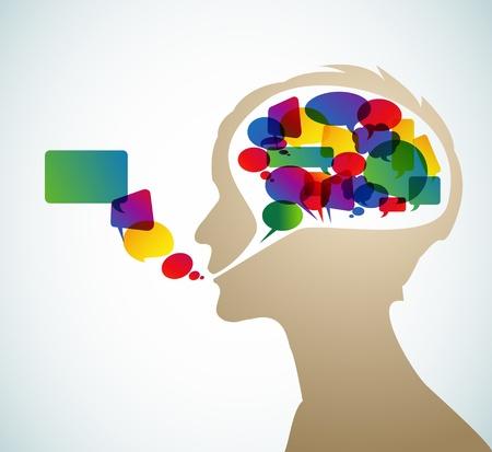 Abstracte spreker silhouet met bubbels in het hoofd Vector Illustratie