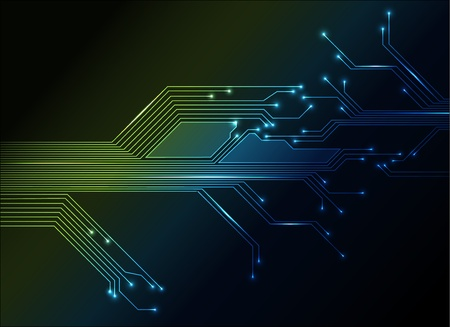 industry electronic: electronic circuit abstract green and blue background Illustration