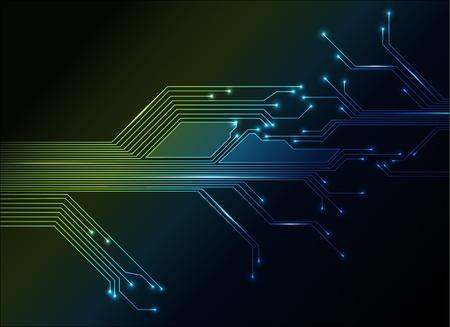componentes electronicos: fondo verde y azul abstracta de circuito electr�nico Vectores