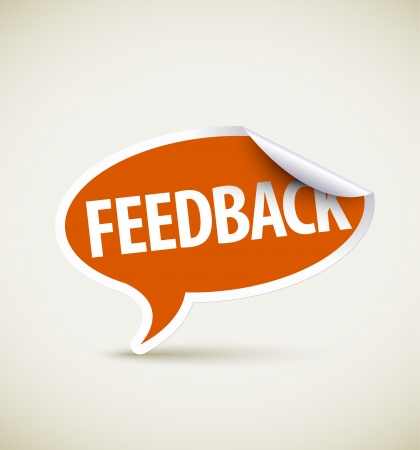 feedback icon: Feedback speech bubble as pointer with white border Illustration