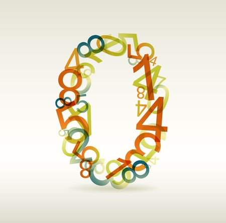 Number zero made from colorful numbers -  check my portfolio for other numbers Vector
