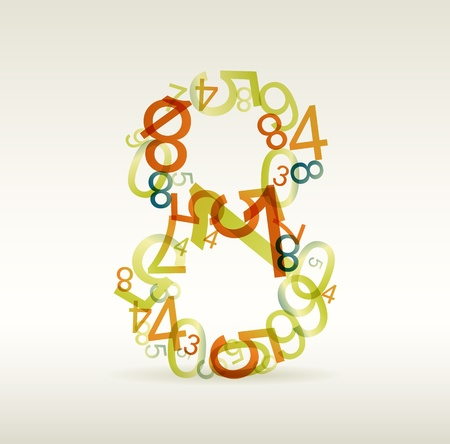 Number eight made from colorful numbers -  check my portfolio for other numbers Vector