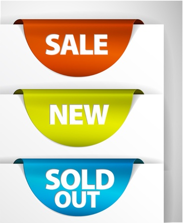 Round Sale / New / Sold out label / Sticker on the edge of the (web) page Stock Vector - 9466314