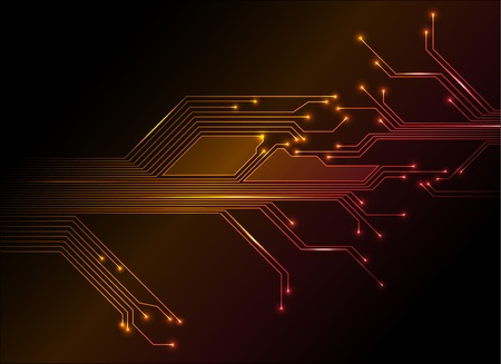 technology trends: electronic circuit abstract yellow to red background