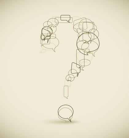 버전: Question mark made from blue speech bubbles - grunge version