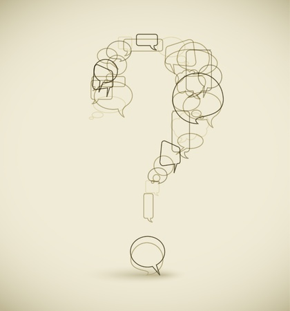 question icon: Question mark made from blue speech bubbles - grunge version