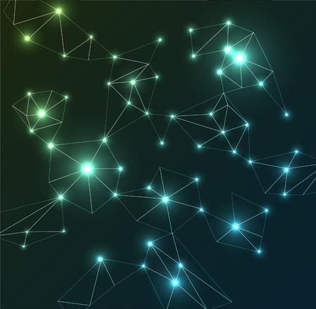 Constellations: Vector Abstract colorful background - lights and lines effect