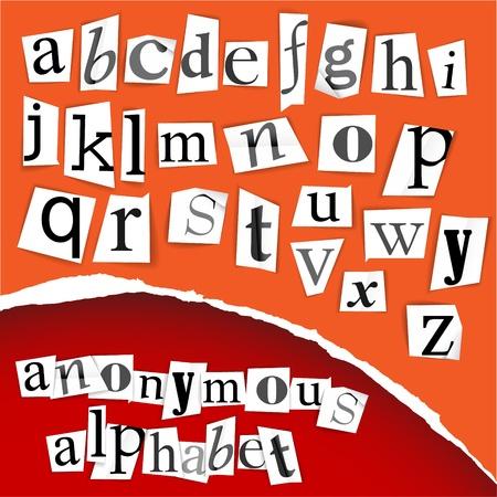 clippings: Alfabeto an�nimo - recortes blancos sobre fondo rojo Vectores