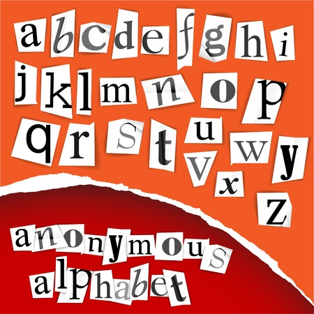 anonyme: Alphabet anonyme - coupures blancs sur fond rouge