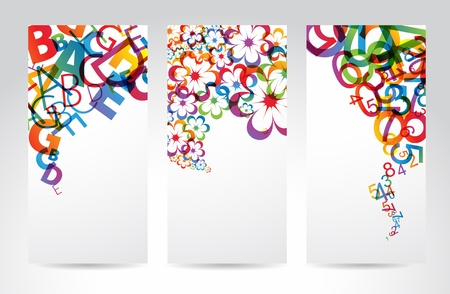 cartoon math: Vertical Banners with colorful rainbow numbers, letters, flowers Illustration