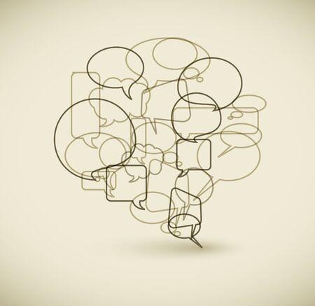 버전: Big speech bubble made from small bubbles - retro outline version