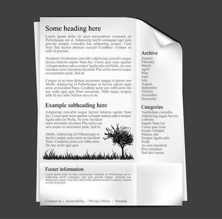 silhoutte: Web site template - sheet of paper with black text and graphics
