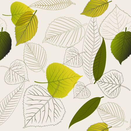 saturate: Spring leafs (with outlines) abstract seamless pattern